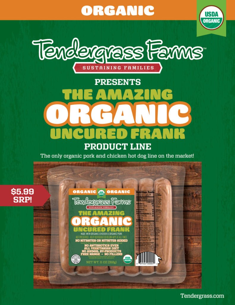 Tendergrass Farms organic franks sell sheet